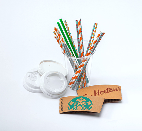 Lids sleeves and paper straws